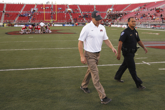 UNLV head coach Bobby Hauck leaves the field after being soundly beaten by Air Force in their Mountain West Conference game Saturday, Nov. 8, 2014 at Sam Boyd Stadium. Air Force won 48-21. (Sam Mo ...