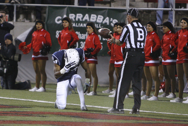 Nevada wide receiver Jerico Richardson celebrates his touchdown after picking up a teammate's fumble during their game against UNLV Saturday, Nov. 29, 2014 at Sam Boyd Stadium. Nevada won 49-27. ( ...