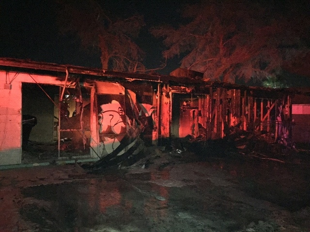 A fire heavily damaged an abandoned house in the 1000 block of Sproul Court, near West Charleston and Rainbow boulevards, early Thursday morning, Nov. 27, 2014, the Las Vegas Fire Department said. ...