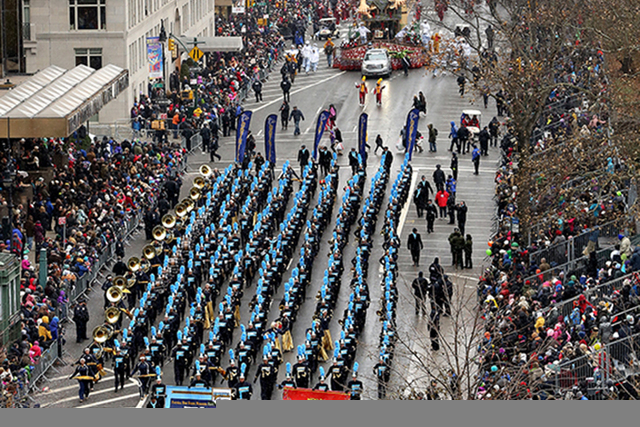 The Foothill High School Band made it to the Macy's Thanksgiving Day Parade in New York to perform before a national audience. (Kevin McCormick/GroupPhotos.com)