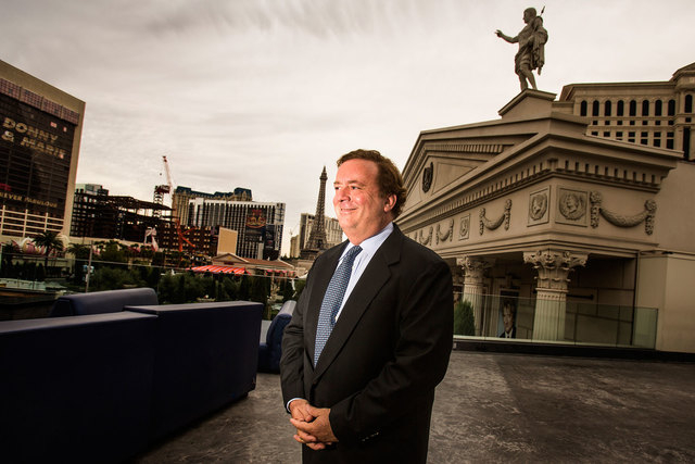 Caesars Entertainment chairman Gary Loveman stands outside Caesars Palace in Las Vegas in 2013. (Jeff Scheid/Las Vegas Review-Journal file)