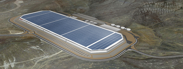 Artist's rendering of the proposed Tesla Motors gigafactory for electric car battery production in Northern Nevada. (Courtesy/Tesla Motors)