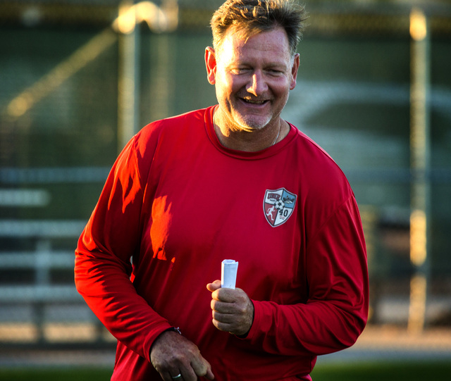UNLV men's soccer head coach Rich Ryerson during practice at  Peter Johann Soccer Field on Monday, Nov. 10, 2014. The 2014 WAC conference champions depart this week for the conference tournament i ...
