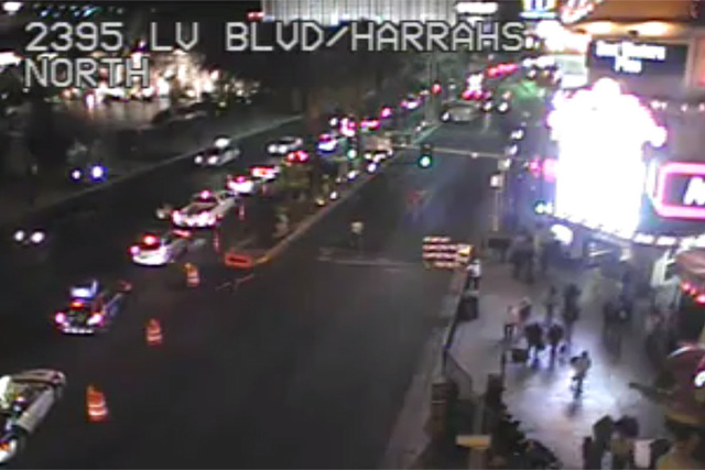 Portions of Las Vegas Boulevard between Harrah's Entertainment Inc. and The Venetian, both between Flamingo and Spring Mountain roads, are blocked off. Drivers should take alternate routes. Cour ...