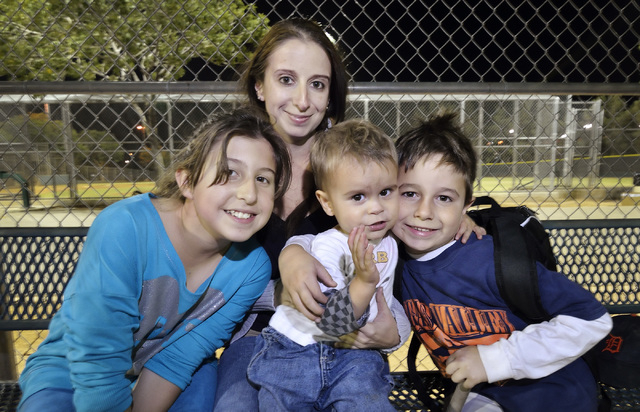 Yohana Martinez is shown with her children, from left, Saile Chigin, Jonathan Rodriguez and Matthew Martinez at the Arroyo Grande Sports Complex at 298 N. Arroyo Grande Blvd. in Henderson on Thurs ...