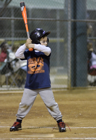 Matthew Martinez waits for a pitch at the Arroyo Grande Sports Complex at 298 N. Arroyo Grande Blvd. in Henderson on Thursday, Nov. 13, 2014. (Bill Hughes/Las Vegas Review-Journal)