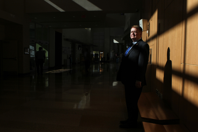 Dr. Ronald Heezen, new executive director for the Las Vegas-Clark County Library District, poses for a photo inside the Windmill Library in Las Vegas Thursday, Nov. 20, 2014. (Erik Verduzco/Las Ve ...