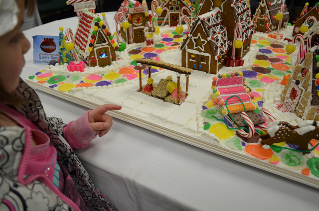"""The manger waits for baby Jesus' birth in Bobbie Suarez's """"A Christmas With Family"""" gingerbread house display at Henderson WinterFest, Dec. 14, 2013. Applications for Applications for this year's  ..."""