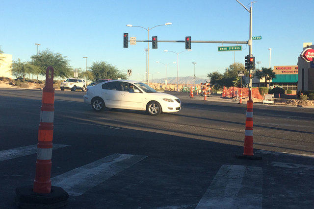 A road construction worker is in serious condition after she was struck by a vehicle on Warm Springs Road, near Arroyo Grande Boulevard, early Friday morning, Nov. 7, 2014. (Bizuayehu Tesfaye/Las  ...