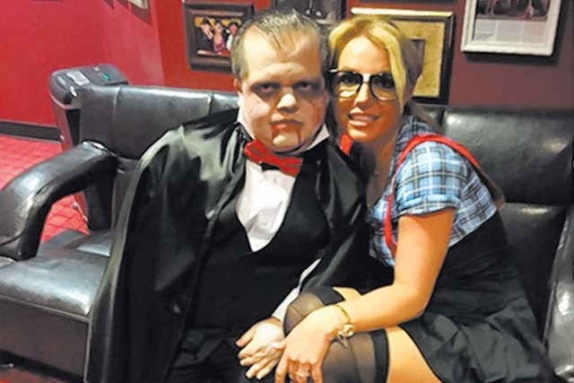 Britney Spears as a nerd at Beacher's Madhouse on Friday with emcee Donnie Davis. Courtesy Beacher's Madhouse