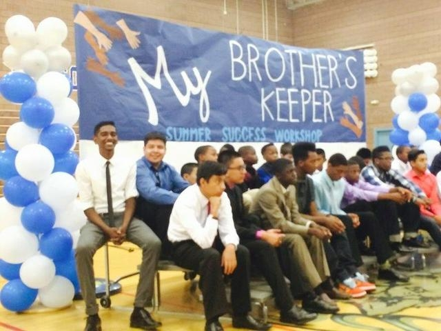 West Preparatory Academy students are seen participating in a My Brother's Keeper event spearheaded by Nevada Partners in Las Vegas, July 18, 2014. (Special to View)