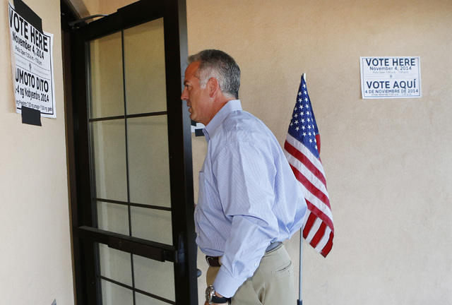 Clark County sheriff candidate Joe Lombardo arrives at Las Ventanas Community Center to cast his vote, Tuesday, Nov. 4, 2014. (Bizuayehu Tesfaye/Las Vegas Review-Journal)
