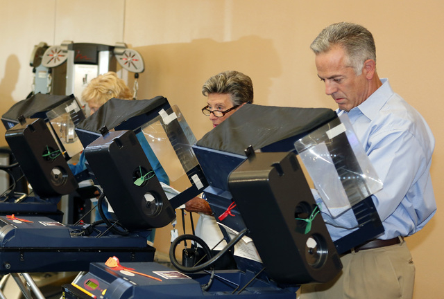 Clark County sheriff candidate Joe Lombardo votes at Las Ventanas Community Center, 10401 W. Charleston Blvd., Tuesday, Nov. 4, 2014. (Bizuayehu Tesfaye/Las Vegas Review-Journal)