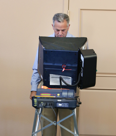 Clark County sheriff candidate Joe Lombardo casts his vote Tuesday, Nov. 4, 2014, at Las Ventanas Community Center, 10401 W Charleston Blvd.  (Bizuayehu Tesfaye/Las Vegas Review-Journal)