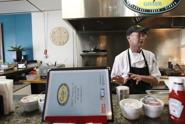 Robert Polk, owner and chef at at Kailyn's Diner, speaks with a customer during breakfast service at his restaurant, 3430 E. Tropicana Ave., suite 6, Sunday, Nov. 9, 2014. (Erik Verduzco/Las Vegas ...