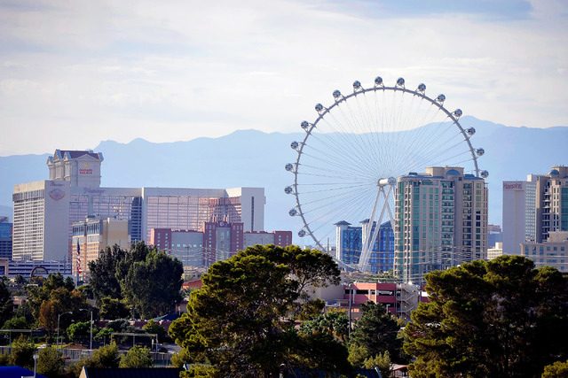 Hotels and the High Roller are seen along the Strip on Friday, Oct. 17, 2014. (David Becker/Las Vegas Review-Journal)