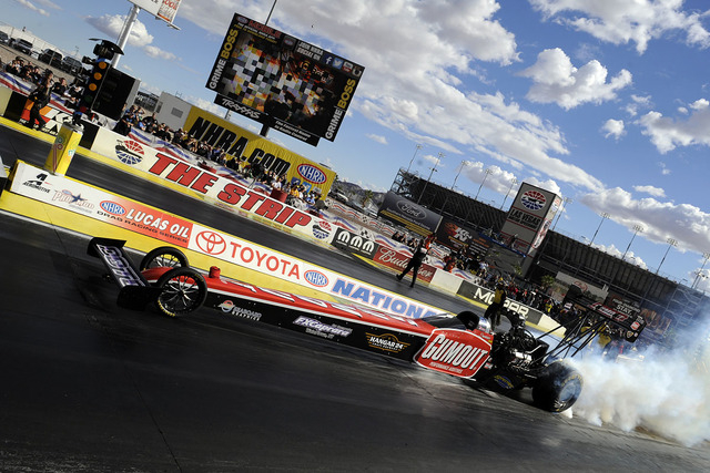 2014 November 02 | Sunday: Leah Pritchett (777 TF) NHRA Top Fuel Dragster does a burnout during the second round of eliminations for the 14th Annual Toyota Nationals on The Strip at Las Vegas Moto ...