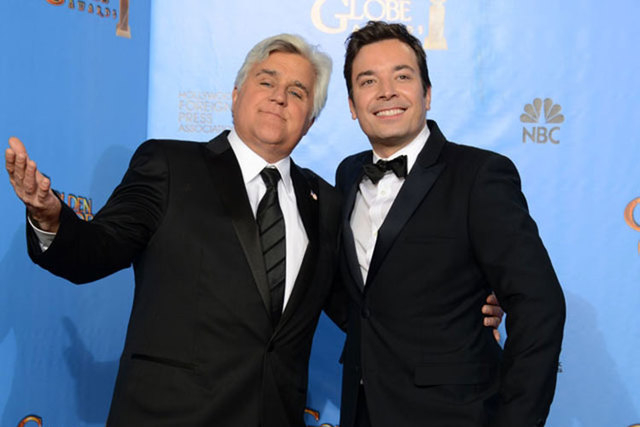 """Jay Leno, left, and Jimmy Fallon, host of """"""""Late Night with Jimmy Fallon"""","""" are shown backstage at the 70th Annual Golden Globe Awards in Beverly Hills, California, Jan. 13, 2014. Leno will be a ..."""