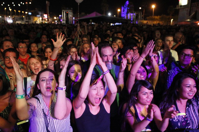 Fans cheer during a performance by Jenny Lewis at the Life Is Beautiful music and art festival in downtown Las Vegas Friday, Oct. 24, 2014. (Erik Verduzco/Las Vegas Review-Journal)