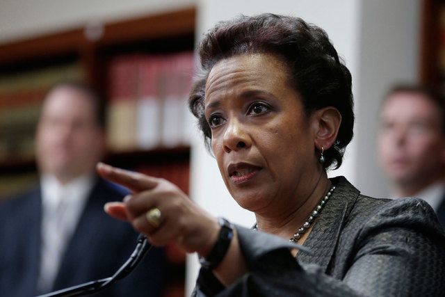 Loretta Lynch, U.S. Attorney for the Eastern District of New York speaks during a news conference in New York, April 28, 2014. (AP Photo/Seth Wenig, File)