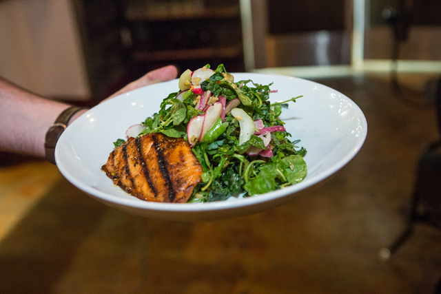 A salad and fish dinner is shown at Made L.V. restaurant in Tivoli Village at Rampart Boulevard and Alta Drive in Las Vegas Saturday, Nov. 1, 2014. (Donavon Lockett/Las Vegas Review-Journal)