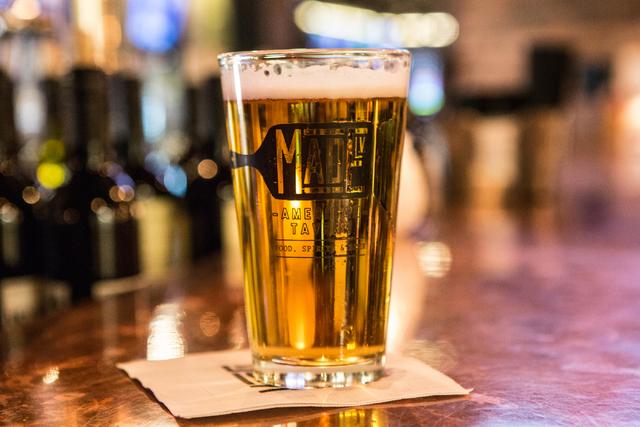 A draft beer is shown at Made L.V. restaurant in Tivoli Village at Rampart Boulevard and Alta Drive in Las Vegas Saturday, Nov. 1, 2014. (Donavon Lockett/Las Vegas Review-Journal)