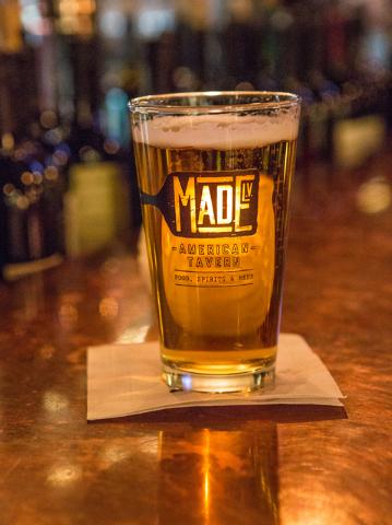 A draft beer is shown at Made LV restaurant in Tivoli Village at Rampart Boulevard and Alta Drive in Las Vegas Saturday, Nov. 1, 2014. (Donavon Lockett/Las Vegas Review-Journal)