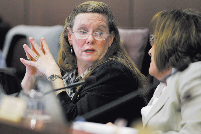 Assemblywoman Maggie Carlton, D-Las Vegas, left, anticipates there will be many battles during the 2015 Nevada Legillature between progressives and conservatives who have spent years in the minori ...