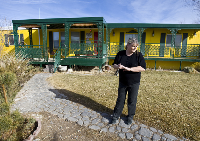 Bobbi Davis, owner of Shady Lady brothel, located about 2 1/2 hours north of Las Vegas,  on Dec. 23, 2009. Davis is planning on hiring men next month to service women costumers. (Jeff Scheid/Las V ...