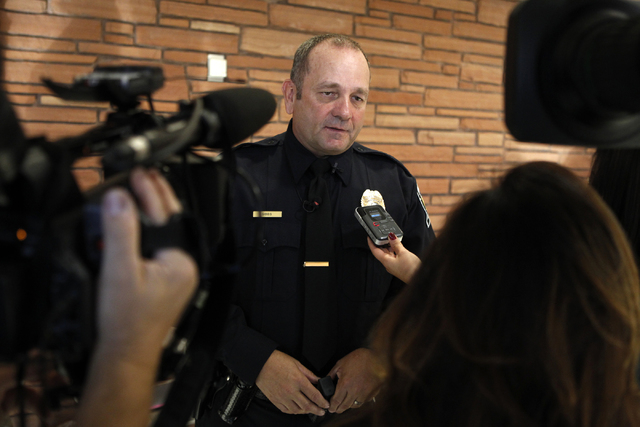 Robert Gibbs, a retired Las Vegas police officer is interviewed at the Clark County Government Center in Las Vegas Tuesday, Nov. 18, 2014. Gibbs was honored for intervening to stop an attack again ...