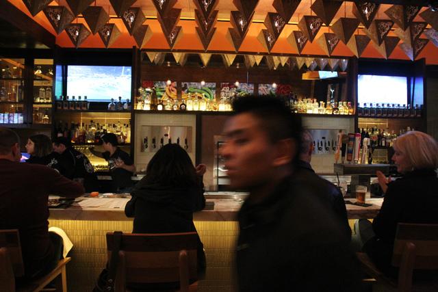 The bar area at Mercadito restaurant inside Red Rock Resort in Las Vegas is seen during dinner service Saturday, Nov. 22, 2014. (Erik Verduzco/Las Vegas Review-Journal)