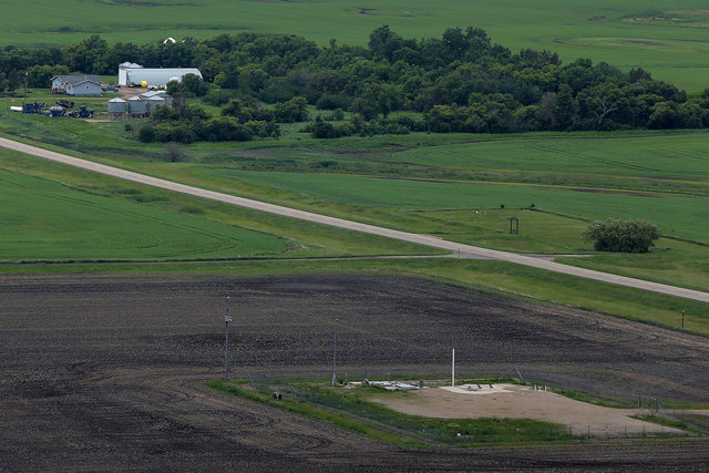 An ICBM launch site located among fields and farms in the countryside outside Minot, North Dakota, is shown June 24, 2014. The Air Force on Monday, Nov. 3, 2014, fired two more nuclear commanders  ...