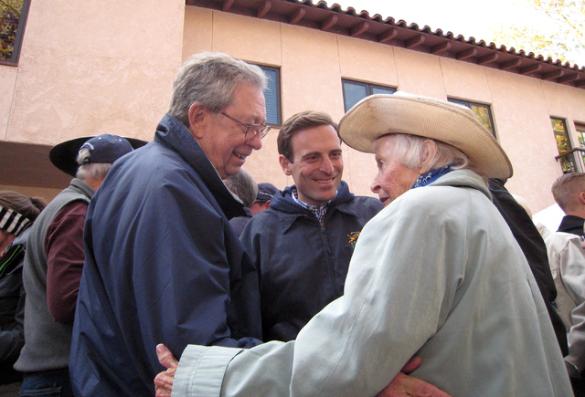 Former GOP Gov. Robert List, left, and Adam Laxalt worked the Nevada Day celebration in Carson City on Nov. 1, 2014. Three days later, Laxalt won the attorney general's job. (Jane Ann Morrison/Las ...
