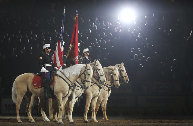 Military Night kicks off  round 7 of the Wrangler National Finals Rodeo at the Thomas & Mack Center in Las Vegas on Dec. 12, 2012. (Jason Bean/Las Vegas Review-Journal)