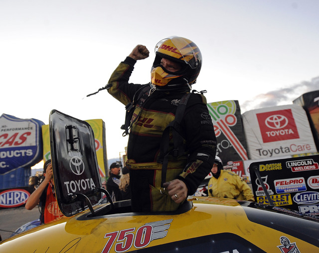 NHRA Funny Car driver Del Worsham celebrates after winning the Toyota Nationals at The Strip at Las Vegas Motor Speedway in Las Vegas Sunday, November 2, 2014.(Josh Holmberg/Las Vegas Review-Journal)