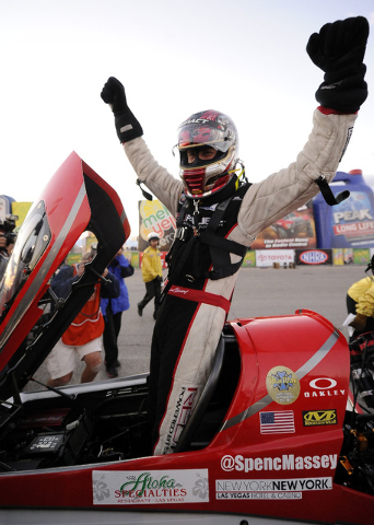 NHRA Top Fuel driver Spencer Massey celebrates  after winning the Toyota Nationals at The Strip at Las Vegas Motor Speedway in Las Vegas Sunday, November 2, 2014.(Josh Holmberg/Las Vegas Review-Jo ...