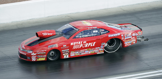 NHRA Pro Stock driver and race winner Erica Enders-Stevens makes a pass of 209.17 miles per hour at 6.593 elapsed time in the second round of eliminations of the Toyota Nationals at The Strip at L ...