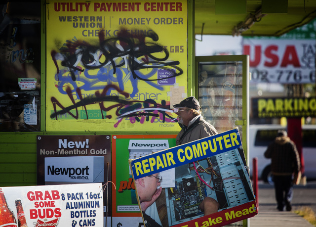 Graffiti as is seen Wednesday, Nov. 26, 2014 on the El Campo Market, 3407 E. Lake Mead, North Las Vegas. North Las Vegas Councilman Isaac Barron is proposing a $.50 fee increase to  clean up graff ...