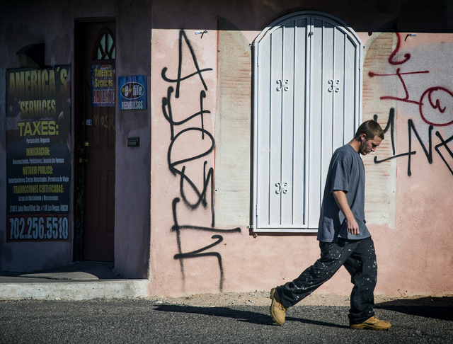 Graffiti as is seen Wednesday, Nov. 26, 2014 at  2700 E. Lake Mead, North Las Vegas. North Las Vegas Councilman Isaac Barron is proposing a $.50 fee increase to  clean up graffiti in the city.  (J ...