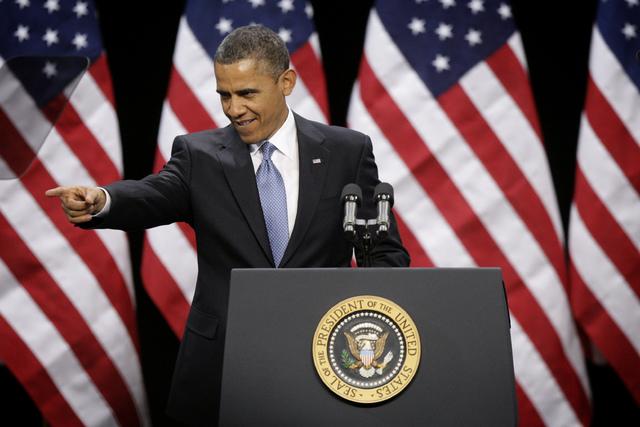 President Barack Obama arrives at Del Sol High School to speak about immigration reform in Las Vegas on Tuesday, Jan. 29, 2013. (Jessica Ebelhar/Las Vegas Review-Journal)