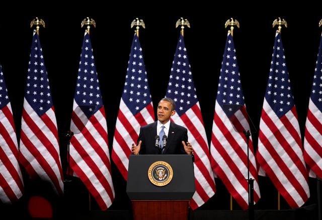 President Barack Obama speaks about immigration reform at Del Sol High School in Las Vegas on Tuesday, Jan. 29, 2013. (Jessica Ebelhar/Las Vegas Review-Journal)