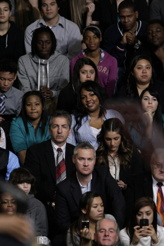 The crowd listens during President Barack Obama's speech about immigration reform at Del Sol High School in Las Vegas on Tuesday, Jan. 29, 2013. (Jessica Ebelhar/Las Vegas Review-Journal)