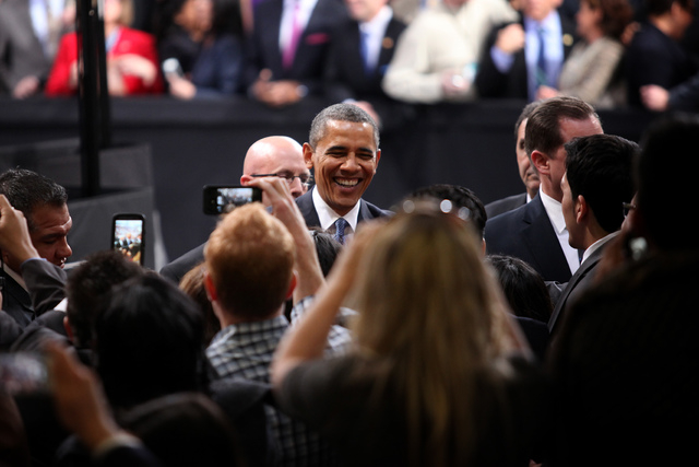 President Barack Obama greets the crowd after speaking about immigration reform at Del Sol High School in Las Vegas on Tuesday, Jan. 29, 2013. (Jessica Ebelhar/Las Vegas Review-Journal)