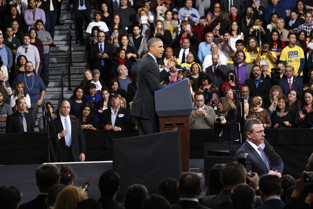 President Barack Obama speaks during a visit to Del Sol High School in Las Vegas to discuss details of his executive action on immigration Friday, Nov. 21, 2014. (Erik Verduzco/Las Vegas Review-Jo ...