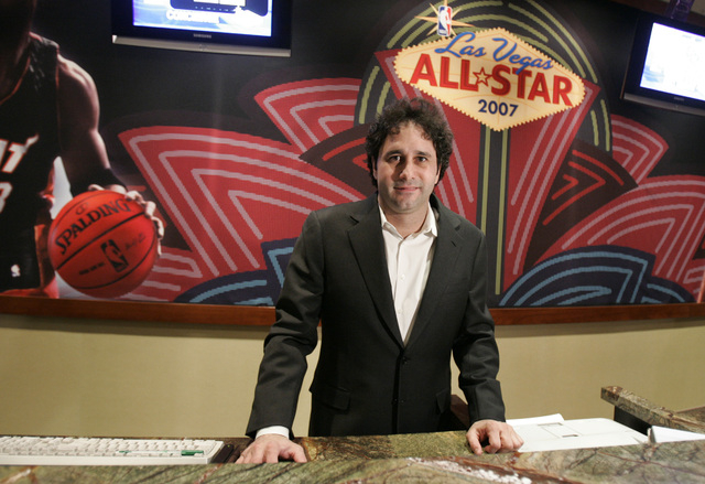 The Palms resort-casino owner and owner of the NBA's Sacramento Kings, George Maloof, stands at the front desk of his casino Thursday, Feb. 8, 2007, in Las Vegas. NBA All-Star players will be stay ...