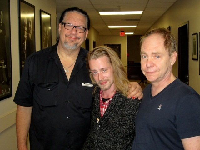 Macauley Culkin with Penn and Teller on Monday at the Rio. (Courtesy)