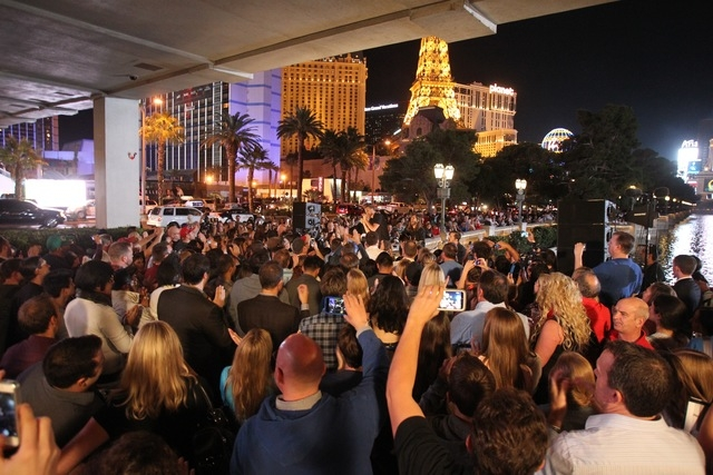 Imagine Dragons perform on Saturday, Nov. 8 outside the Bellagio. (Kevin M. Cannon/Las Vegas Review-Journal)