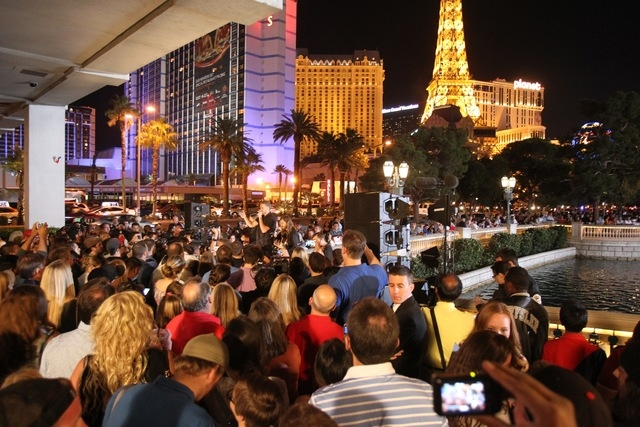 Imagine Dragons performs Saturday in front of the Bellagio. (Courtesy)
