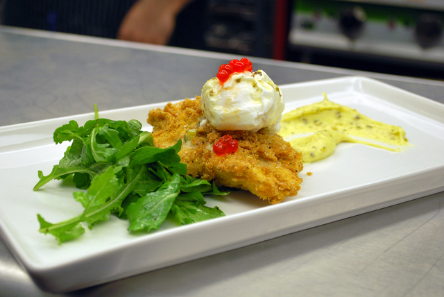 Fried catfish Benedict is on the menu at Pot Liquor CAS. (Courtesy)