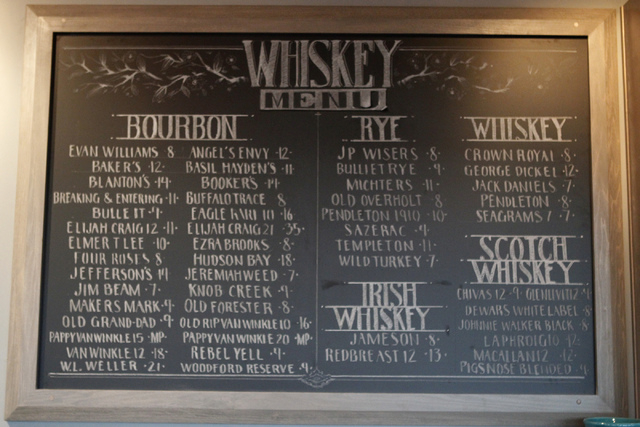 The whiskey menu is seen displayed inside Pot Liquor C.A.S. at Town Square in Las Vegas during dinner service Saturday, Nov. 15, 2014. (Erik Verduzco/Las Vegas Review-Journal)